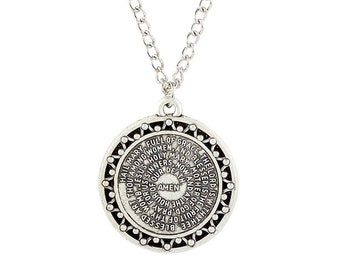 Stainless Steel Hail Mary Dios te Salve Maria Necklace Pendant with Chain