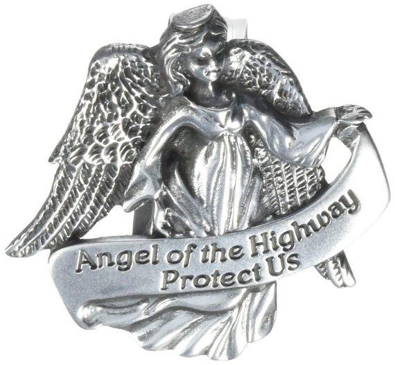 Religious Gifts Angel Holding Son Please Drive Safely Banner 2 Inch Pewter Auto Visor Clip