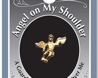 Angel on my Shoulder Lapel Pin -Gold - 1 Inch