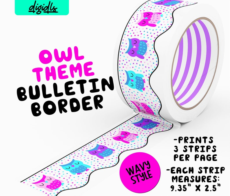 graphic relating to Printable Bulletin Board Borders referred to as Printable Bulletin Board Border Owl Topic