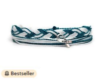 Custom cervical Cancer Awareness Never Give Up Bracelet Choisir initial famille