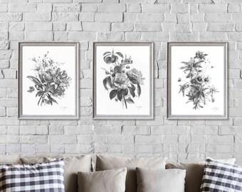 af43bd1138 Set of 3 Flower Prints, Vintage Flower Lithography, Black and White Wall  Decor, Living Room Wall Art, Antique Flower Print, Flower Prints