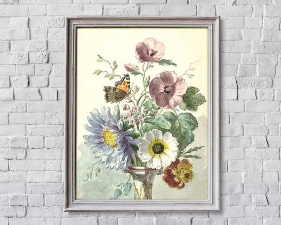 Bouquet Of Flowers Print Vintage Flower Art Floral Wall Art Etsy