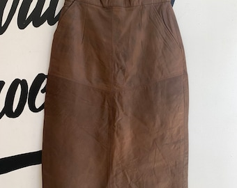 13bb43fb8e Brown leather skirt size small