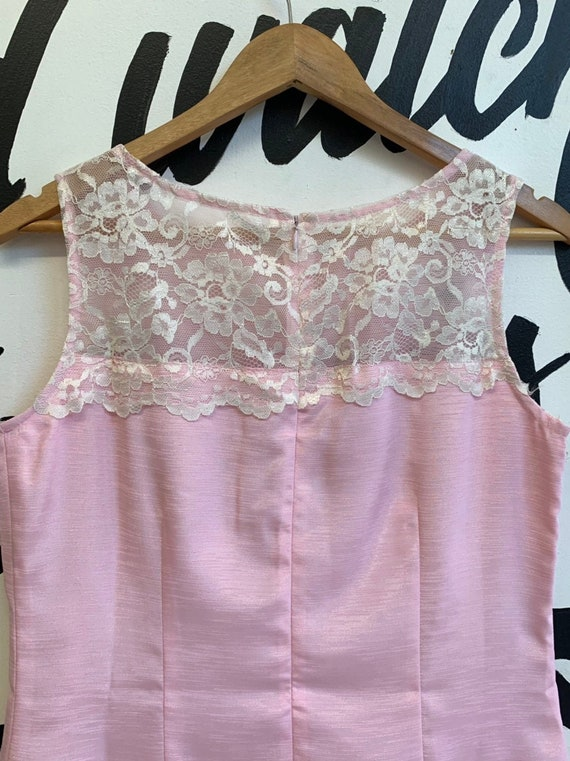 Deadstock Vintage Pink and White Lace Dress