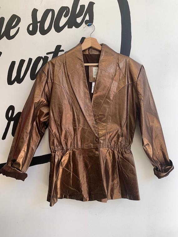Vintage Deadstock Bronze Leather Blazer