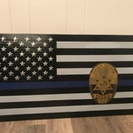 Custom Rustic American Wood Flag, Thin Blue Line, .38 shell casing embedded into stars, custom hand-painted police badge