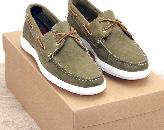 New * Allen Edmonds LAKE MENDOTA 9 D  Green * Boat Shoes * orig price was 195