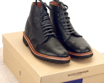 New * Allen Edmonds SUTTER MILL BOOT Black 8 D * new Bags (add 15 new trees) orig price was 395