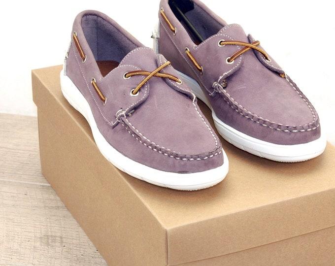 New * Allen Edmonds LAKE MENDOTA 9 D Purple * Boat Shoes * orig price was 195