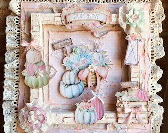 Media mix table in 3D, romantic Shabby style, pumpkin theme, hand made of 31x31 cm