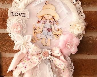 Decorative crown romantic style, little girl in 3D, hand made of 19x29 cm