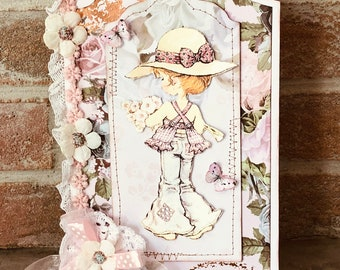 Tag romantic style, 3D image little vintage girl, hand made of 12x20 cm