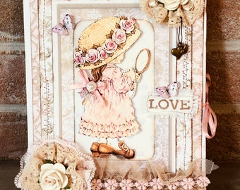 Postcard double romantic style, vintage little girl, 3D, hand made of 15x20 cm