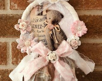 Decorative crown romantic style, shabby, 3D teddy bear, hand made of 13x22 cm