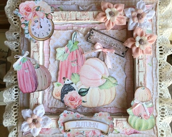 Table mix media in 3D, pumpkin theme, romantic style shabby, hand made of 31x31 cm