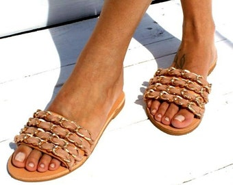 b27192f9ba82 DOLCE VITA  Handmade to order embellished leather sandals  Decorated slide  sandals  Chic sandals  Chain shoes  Nude sandals