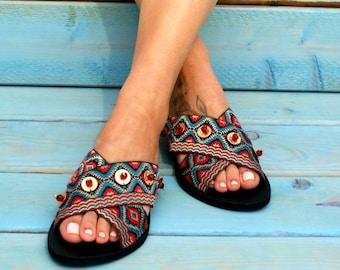 34a2591899fc FATIMA  Greek boho sandals  colorful sandals  leather sandals  handmade bohemian  sandals  gypsy sandals  hippie sandal  ethnic sandals