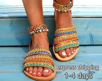 1d7d4c6d6 COSMOPOLITAN  Greek boho sandals  colorful sandals  leather sandals   handmade bohemian sandals  gypsy sandal  hippie sandal  ethnic sandals