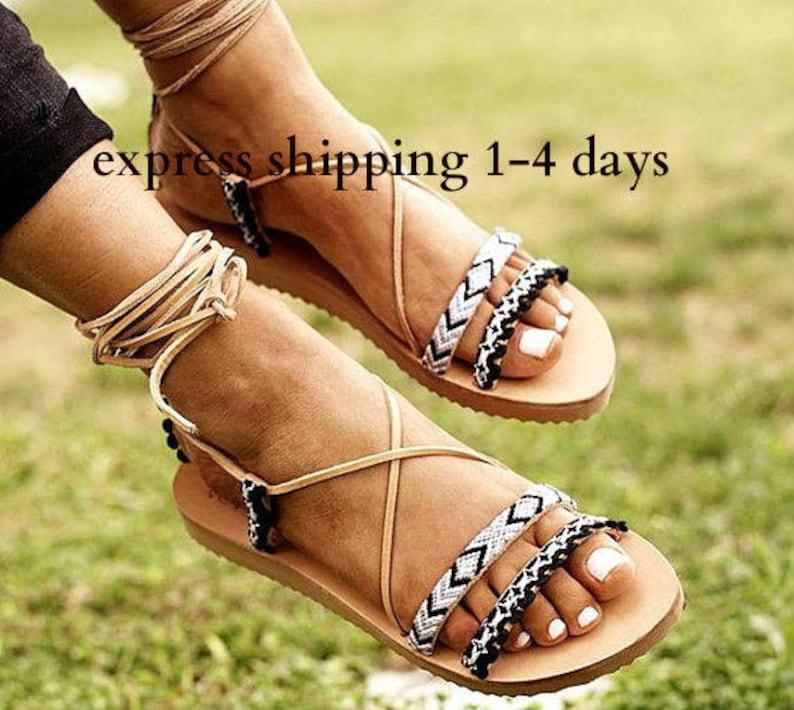 44a7d7185904 AIRINI sandals  Tie up gladiator sandals  Boho sandals