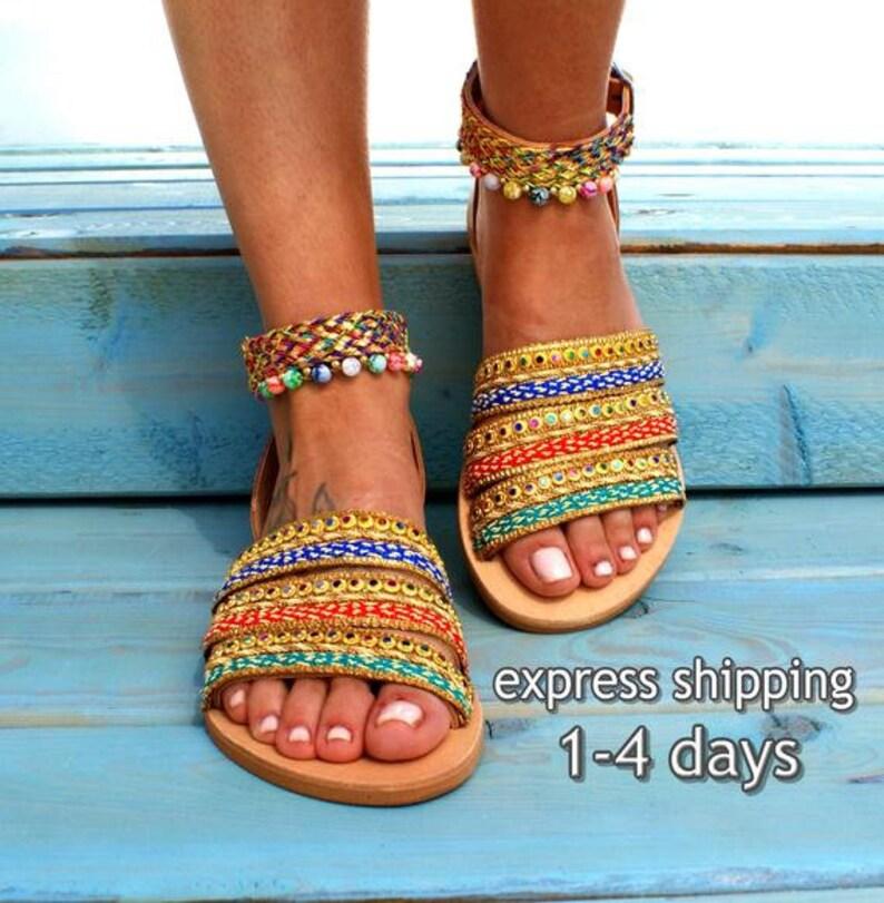 7009324dd40f COSMOPOLITAN  Greek boho sandals  colorful sandals  leather