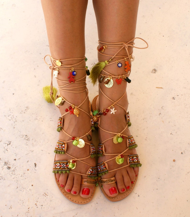 9f294e860c95 MEXICO 2  Tie up gladiator sandals  Boho sandals  Leather