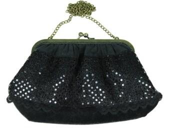 47110d5884 Black velvet and sequins bag
