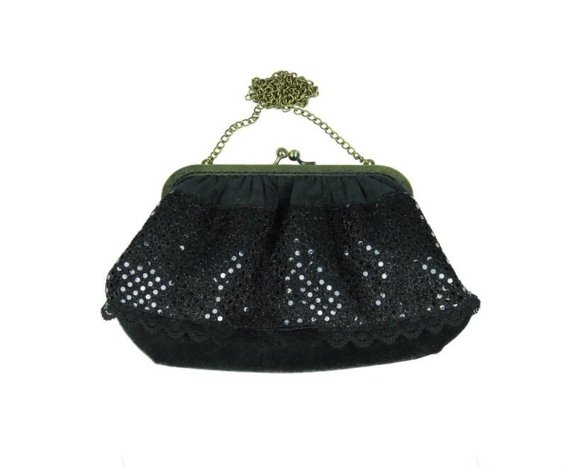 74d4d8fa103 Bolso negro terciopelo y lentejuelas bolso vintage bolso de