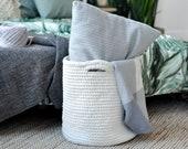 Crochet basket knitted basket storage basket nursery decor nursery storage bathroom storage white basket big crochet basket