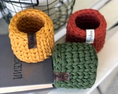 Crochet basket Handmade Crochet Love Heart T-Shirt Yarn Basket Storage Basket Pot Plant Cover Multi Purpose Storage Shelf Basket Mini basket
