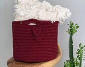 Crochet basket knitted basket storage basket nursery decor nursery storage bathroom storage burgundy basket big crochet basket