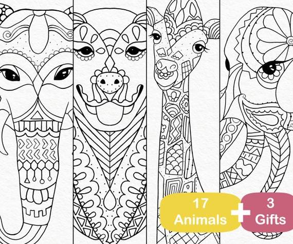 Printable Coloring Book 17 Animals Coloring Pages Pdf Adult Etsy