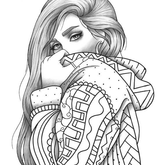 Adult coloring page girl portrait and clothes colouring sheet | Etsy