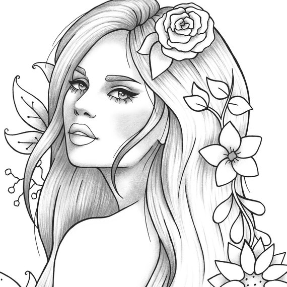 Printable Coloring Page Girl Portrait And Clothes Colouring Etsy