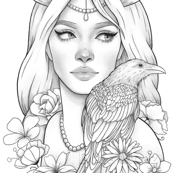 Adult coloring page Fantasy girl bird portrait | Etsy