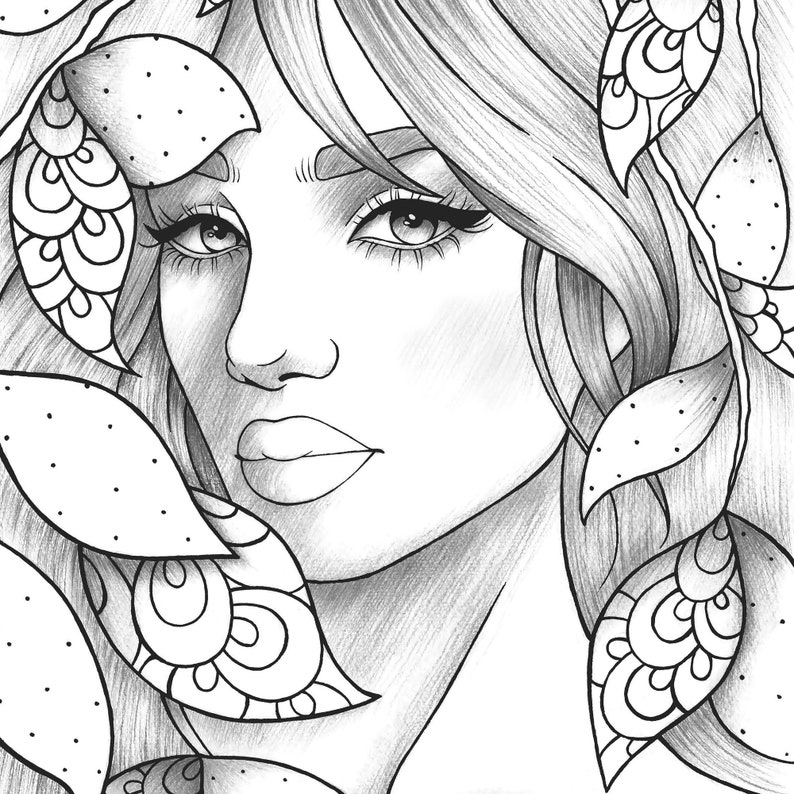 Adult coloring page girl portrait and leaves colouring ...