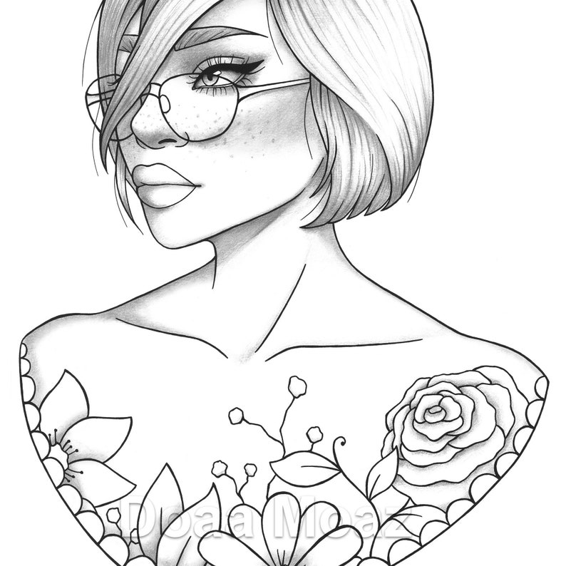 Printable coloring page girl portrait and clothes colouring image 0