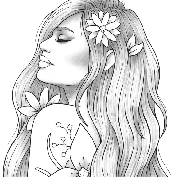 Printable coloring page girl portrait and clothes ...