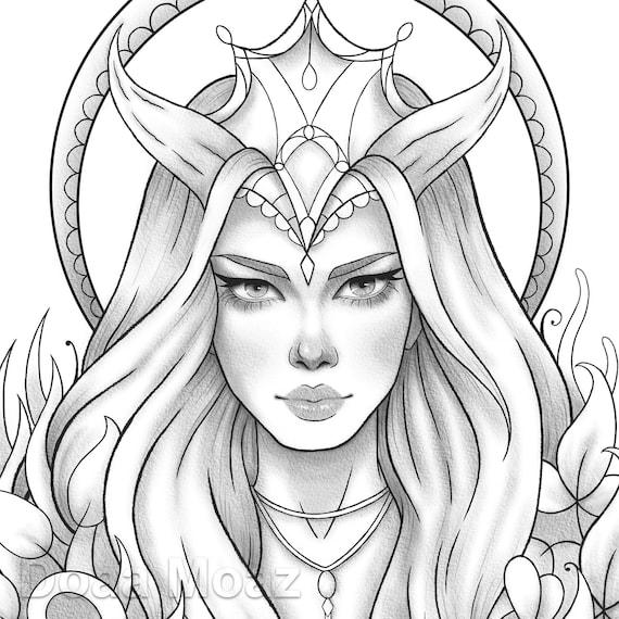 Printable Coloring Page Fantasy Girl Portrait Etsy