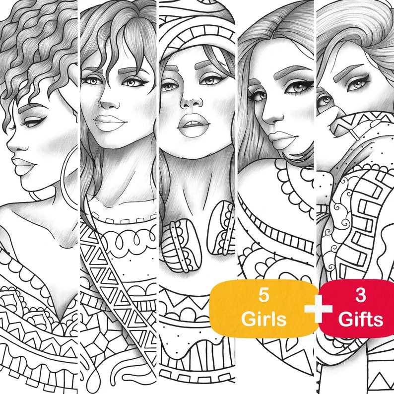 Adult coloring book 5 gray scale girls colouring pages fashion pdf  printable anti-stress relaxing zentangle line art