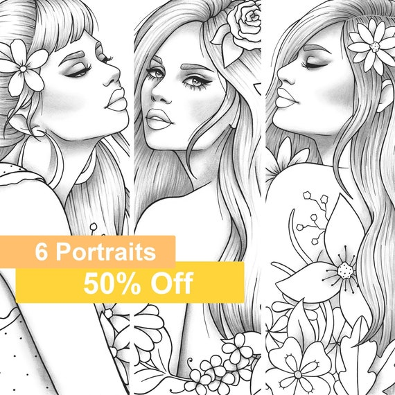 Adult Coloring Book 6 Grayscale Girls Colouring Pages Floral Etsy