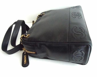 7907ac0bf1ab09 chanel Caviar Large Size Black Leather Shoulder Bag
