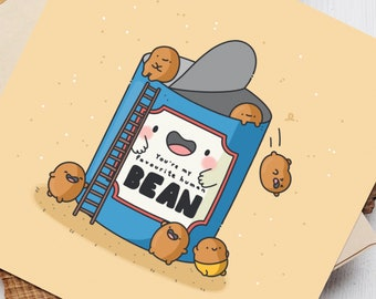 Favourite human bean card  - Kawaii beans Card   Cards for her, Cards for him   Funny Birthday Card For Boyfriend For Girlfriend Card