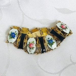 Vintage Aksel Holmsen Norway Scandinavian Sterling Silver Gilt Guilloche Enamel Bracelet circa 1950