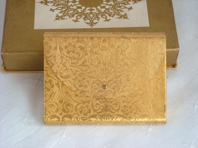 Vintage Coty Damask Envelope Vanity Powder Compact in Original Presentation Box 1950