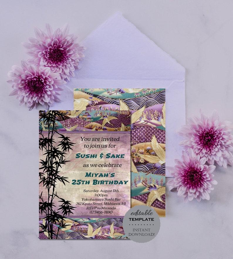 Japanese Oriental Birthday Invitation Bamboo Purple Editable Template Printable Instant Download Digital