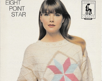 60aab7987 Chatelaine Crafts Exclusive  K391 Eight Point Star Sweater Knitting Pattern  Leaflet