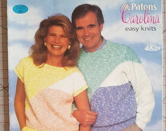 Patons # 1710 Husky For Extra Warmth Sweater  Knitting Pattern Leaflet  Sizes 32-44 in.