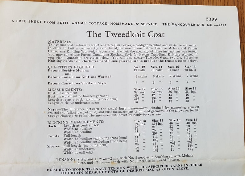 from Edith Adams Cottage 14 16 18 Vancouver Sun Ladies Sizes 12 Design 2399 TweedKnit Coat  Sheet Pattern