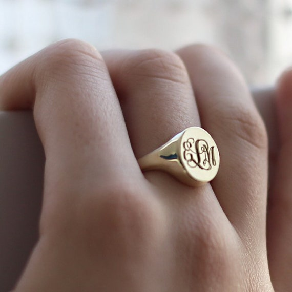 Brass Signet Ring-Personalized Signet Ring-Initial Signet Ring-Monogram Ring-Personalized Jewelry-Signet Ring-Monogram Jewelry-Bridesmaid